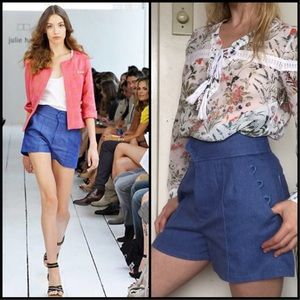 Julie Haus High Waisted Pleated 70s Style Shorts